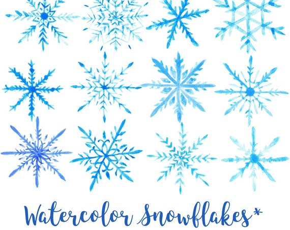 Watercolor Snowflakes Clip Art, Watercolor Snow, Transparent PNG, Watercolor Clip Art, Watercolor Transparent Clip Art, Commercial Use