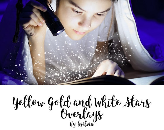 Yellow Gold and White Stars Bokeh Overlays, Stars Photo Overlays, Yellow Bokeh Overlays, Digital Bokeh Effect, Photo Layer, Digital Backdrop