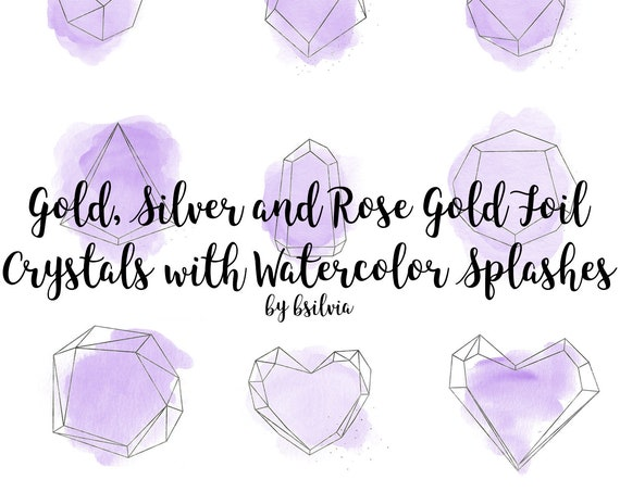 Gold, Silver and Rose Gold Crystals with Pink - Purple - Blue Watercolor Clip Art, Polygonal Crystal Frame, Geometric Frame Clip Art, Luxury