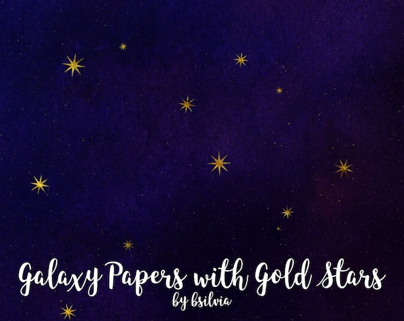 Galaxy Papers with Gold Stars, Galaxy Digital Papers 12x12 inches, Space Paper, Space Background, Stars Background, Galaxy Backgrounds