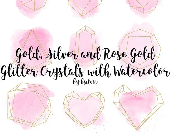 Gold, Silver and Rose Gold Glitter Crystals with Pink Watercolor Clip Art, Polygonal Crystal Frame, Geometric Frame Clip Art, Luxury