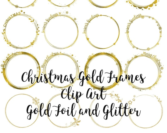 Christmas Gold Frames Clip Art, Gold Glitter Design Elements, Gold Foil Digital Frames, Christmas Gold Frames Clip Art, Transparent PNG