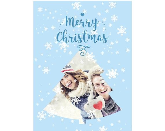 Printable Christmas Greeting Cards, Christmas Photo Card Digital 5x7 inches, Printable Photo New Year Card, Christmas Photo Card Template