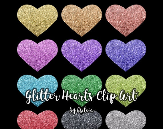 Glitter Hearts Clip Art, Transparent PNG, Sparkly Glitter Hearts Clip Art, Hearts Glitter Design Elements, Transparent PNG, Commercial Use