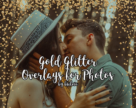 Gold Glitter Overlays for Photos, Gold Glitter Confetti Transparent PNG files, Confetti Photo Overlays, Gold Glitter Borders for Photos