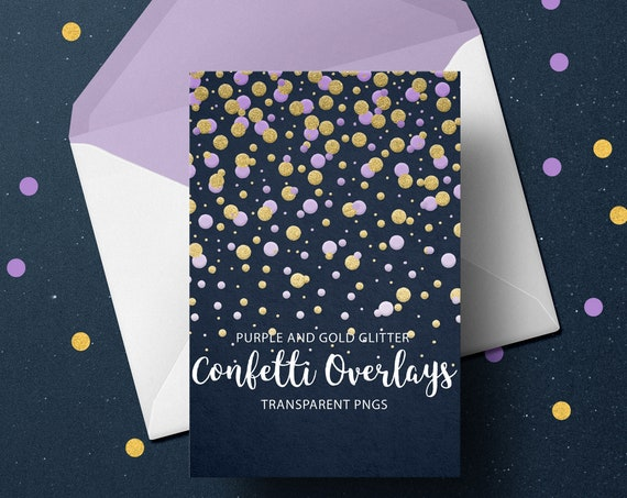 Purple and Gold Confetti Overlays, Gold Confetti Transparent PNG files, Confetti Overlays, Hearts Confetti Photo Overlays, Stars Confetti