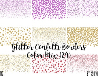 Glitter Confetti Borders Pack Silver PNG Rose Gold Pink