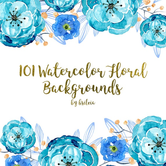 101 Watercolor Floral Backgrounds, Watercolor Floral Digital Paper Pack, 12x12 Watercolor Floral Digital Scrapbooking Papers, Commercial Use