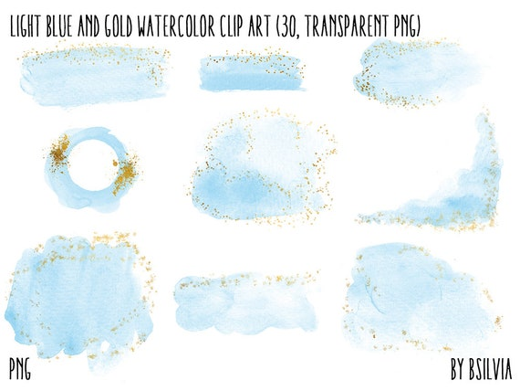 Light Blue and Gold Watercolor clipart, transparent PNG, Gold clip art, watercolor transparent clipart, watercolor splashes clip art