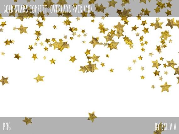 Gold Stars Confetti Overlays, Digital Gold Confetti Photo Overlays set of 10, Gold Stars Confetti Background, Gold Confetti Overlays