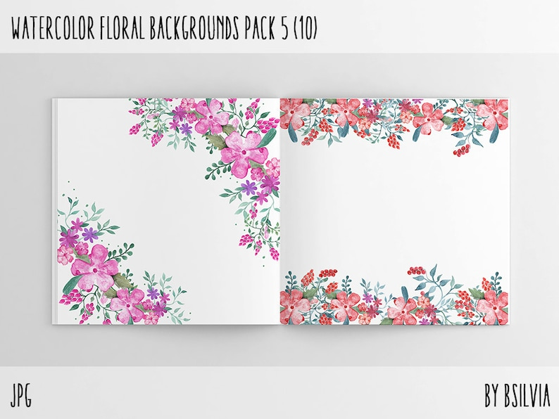 Watercolor Floral Backgrounds with Text Space Watercolor image 0
