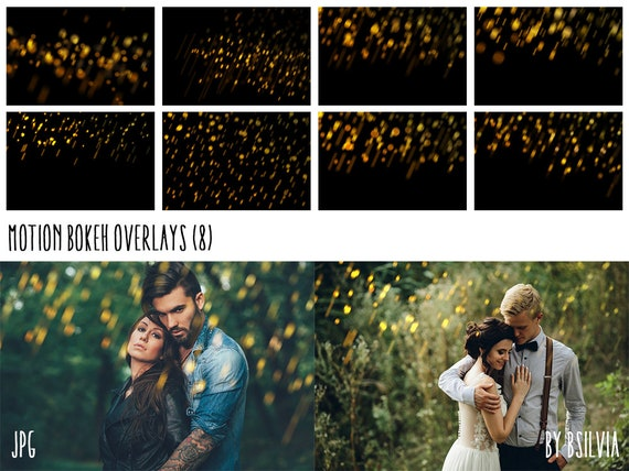 Motion Bokeh Overlays, Yellow Bokeh Photoshop Overlays, Bright Bokeh Overlays, Digital Bokeh Effect, Photo Layer, Digital Backdrop