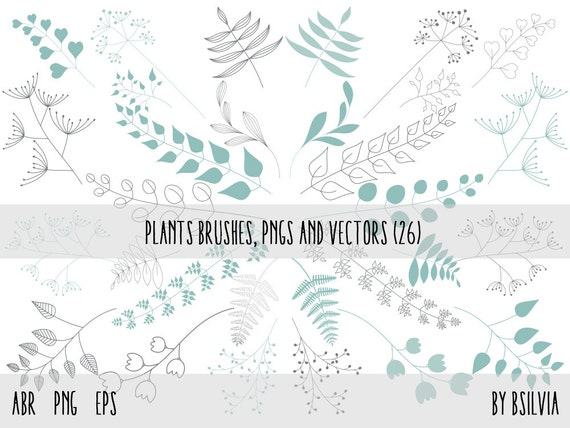 Plants Clip Art, Photoshop brushes , Plants Transparent PNG files and vector files (EPS), Floral Design Elements, Plants Design Elements