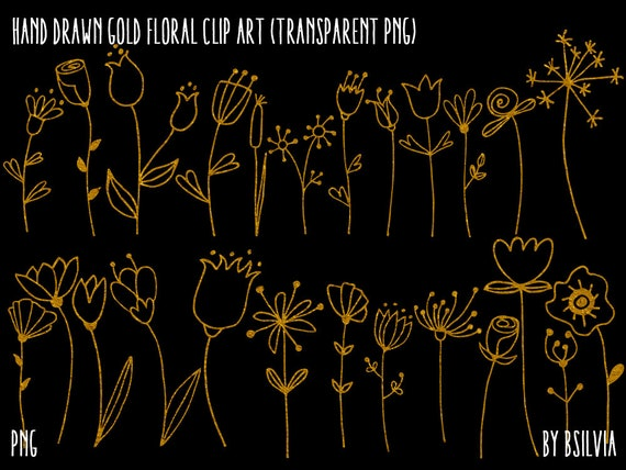 Gold Floral Clip Art, Hand Drawn Gold Floral Clip Art, Digital Gold Floral Clip Art, Hand Drawn Gold Foil Foliage, Gold Wedding Clip Art