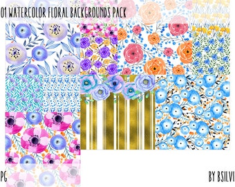 101 Watercolor Floral Backgrounds, Watercolor Floral Digital Paper Pack, Floral Papers for Digital Scrapbooking, Commercial Use