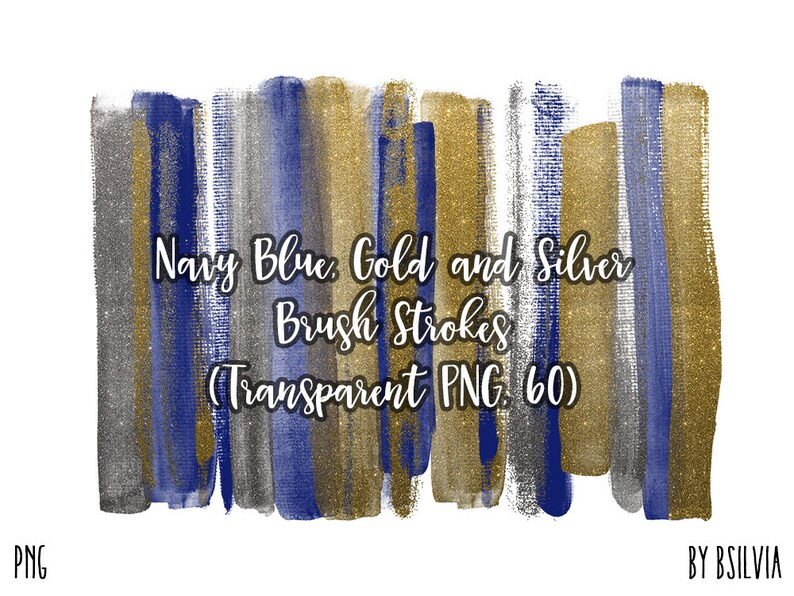 Navy Blue Gold and Silver Brush Strokes 60 Clip Art Brush image 0