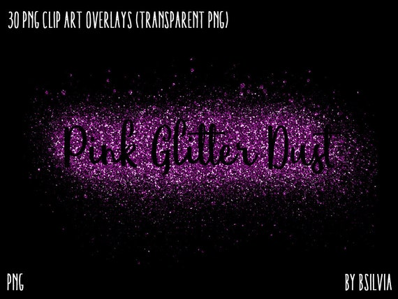 Pink Glitter Dust, 30 Clip Art Overlays, Transparent PNG, Pink Glitter Piles, Pink Glitter Powder, Instant Download, Commercial Use