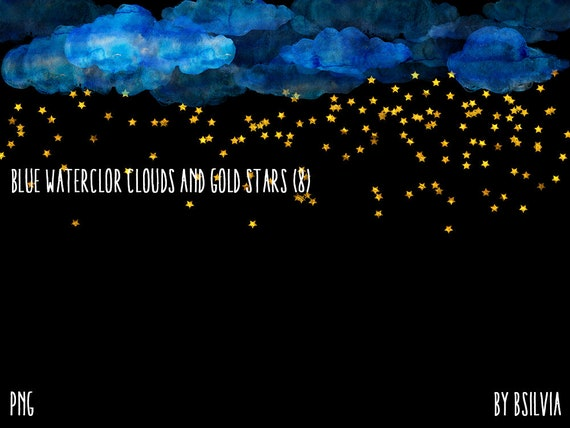 Blue Watercolor Clouds and Gold Stars, Digital Gold Stars Confetti, Gold Stars Digital Confetti, 12x12 Photoshop Overlay, Commercial Use