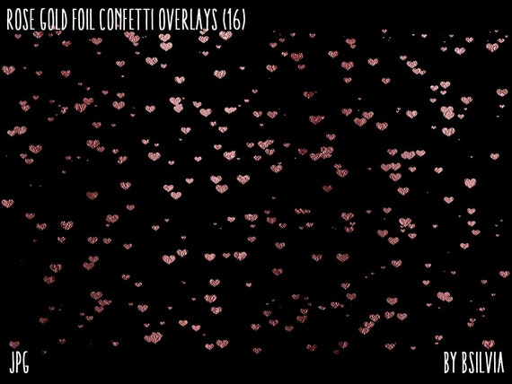 Rose Gold Foil Confetti Clipart Overlays, Rose Gold Confetti Clipart, Transparent PNG files, Set of 16 PNG Files, Commercial Use