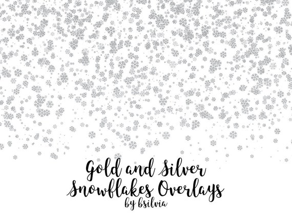 Gold and Silver Snowflakes Confetti Overlays, Gold Snowflakes Overlays, Silver Snowflakes Overlays, Transparent PNG files, Winter Overlays