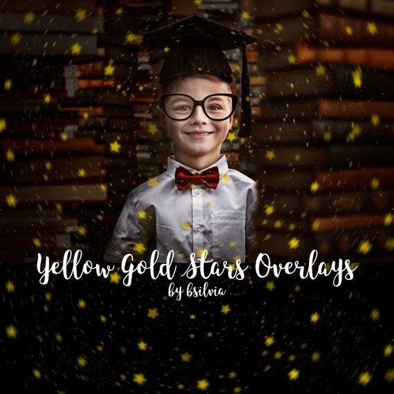 Yellow Gold Stars Bokeh Overlays, Stars Bokeh Photoshop Overlays, Yellow Bokeh Overlays, Digital Bokeh Effect, Photo Layer, Digital Backdrop