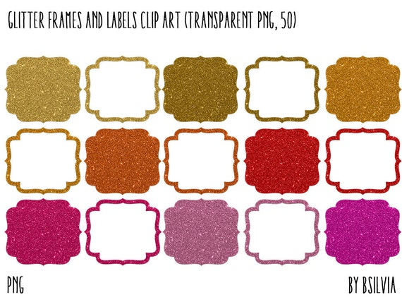 Glitter Frames Clip Art and Glitter Labels Clip Art, Glitter Digital Frames, Frames Clip Art Graphics, Transparent PNG, Commercial Use