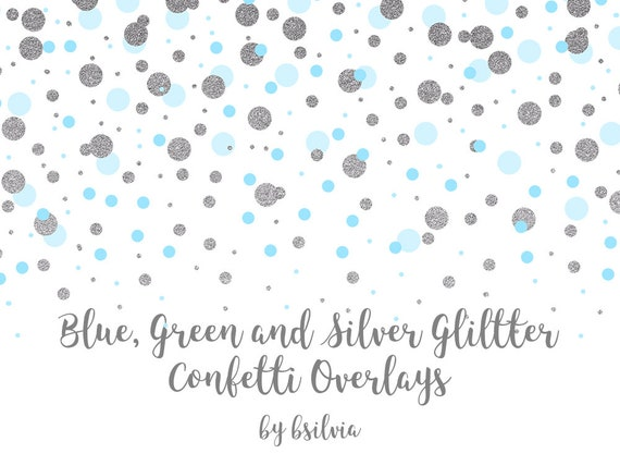 Blue, Green and Silver Glitter Confetti Overlays, Transparent PNG files, Confetti Overlays, Blue Confetti Photo Overlays, Green Confetti