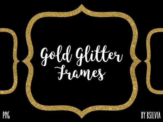 Gold Glitter Frame Clipart, Gold Glitter Border Clipart, Digital Gold Label Clip Art, Glitter Banner, Digital Scrapbooking Gold Frames