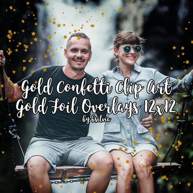 Gold Confetti Clip Art Gold Foil Confetti Overlays 12x12 image 0