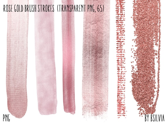 Rose Gold Brush Strokes, 65 Clip Art Overlays, Transparent PNG, Rose Gold Glitter Brush Strokes, Digital Brush Strokes, Commercial Use