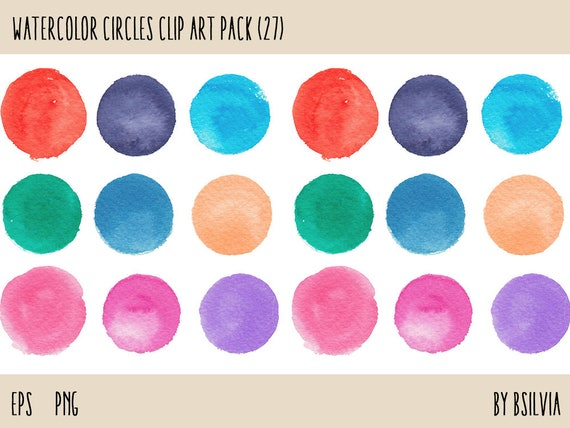 Watercolor clipart circles (27 pc), handpainted round clip art design elements for commercial use