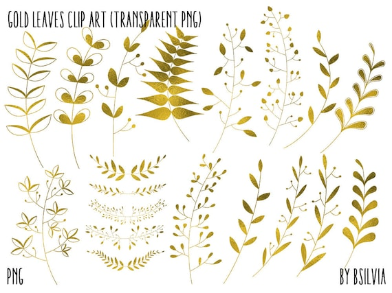Gold Floral Clip Art, Gold Foil Leaves Clip Art, Digital Gold Floral Clip Art, Gold Foil Foliage, Digital Scrapbooking Gold Leaves Clip Art