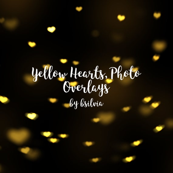 Yellow Hearts Photo Overlays, Yellow Hearts Bokeh Photoshop Overlays, Valentines Day Yellow Bokeh Overlay, Digital Bokeh Effect, Photo Layer
