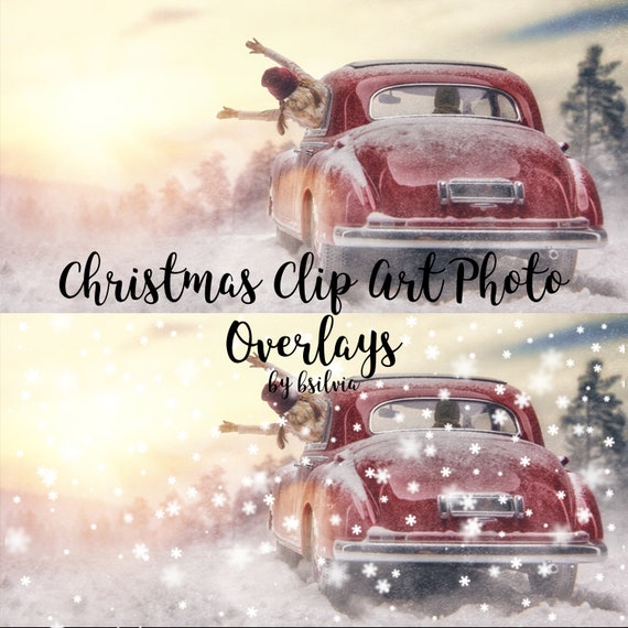 Christmas Clip Art Bokeh Photo Overlays, Snowflakes Bokeh Photoshop Overlays, Digital Bokeh Effect, Photo Layer, Christmas Digital Backdrop