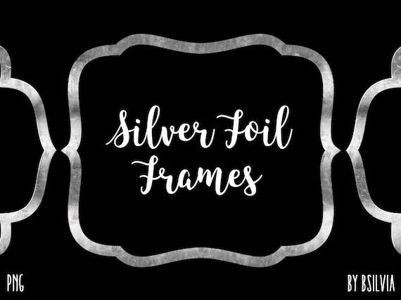 Silver Foil Frame Clipart, Silver Foil Border Clipart, Digital Silver Foil Label Clip Art, Silver Foil Banner, Digital Scrapbooking Frames