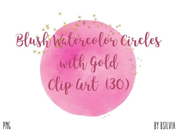 Watercolor Circles Clipart, Transparent PNG, Blush, Pink Gold Clip Art, Watercolor Transparent Clipart, Hand Painted Pink Watercolor Clipart