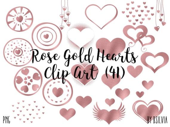 Rose Gold Hearts Clip Art, Rose Gold Glitter Hearts, 41 Rose Gold Clip Art Overlay, Transparent PNG, Rose Gold Design Element, Heart Overlay