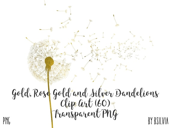 Gold, Rose Gold and Silver Foil Dandelion Clip Art, Gold Dandelion Clipart, Gold Dandelion Seeds, RoseGold Dandelion Seeds, Silver Dandelion