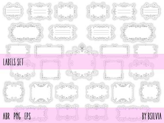 Labels Photoshop Brushes, Clip Art Transparent PNG files, Vector files (EPS), Retro Design Elements, Labels Clip Art, Commercial Use