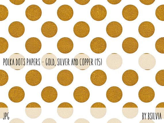 Gold, Silver and Copper Polka Dots Digital Paper, 12x12 Digital Gold, Silver and Copper Polka Dots Backgrounds, Metallic Scrapbooking Papers