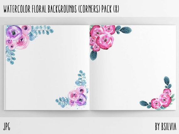 Watercolor Floral Backgrounds with Text Space - Watercolor Floral Corners, Watercolor Flowers Paper Pack, 12x12 Scrapbook Digital Papers