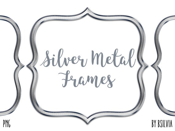 Silver Metal Frame Clipart, Silver Metal Border Clipart, Digital Silver Metal Label Clip Art, Silver Metal Banner, Silver Metal Frames