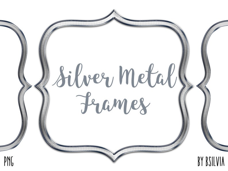 Silver Metal Frame Clipart Silver Metal Border Clipart image 0