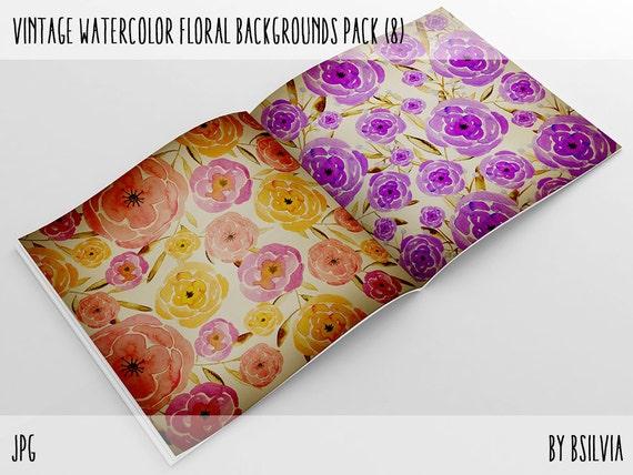 Vintage Watercolor Papers Pack, Vintage Floral Watercolor Backgrounds, Vintage Watercolor Floral Digital Paper, 12x12 scrapbook paper