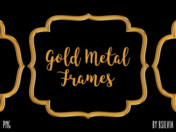 Gold Metal Frame Clipart, Gold Metal Border Clipart, Digital Gold Metal Label Clip Art, Gold Metal Banner, Gold Metal Frames