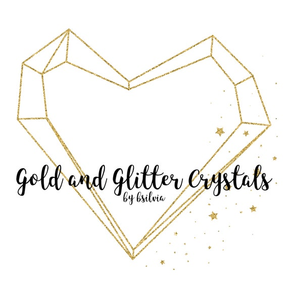 Gold Foil Crystals and Gold Glitter Crystals Clip Art, Gold Polygonal Crystal Frame, Geometric Frame Clip Art, Digital Gold Clip Art, Luxury