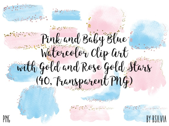 Pink and Baby Blue Watercolor Clipart with Gold and Rose Gold Stars, Transparent PNG, Gold Clip Art, Watercolor Splashes Transparent ClipArt
