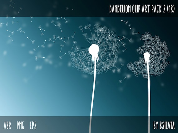 Dandelions Clip Art Pack - Dandelions Photoshop Brushes, Dandelions transparent PNG files, Dandelions vector files (EPS), Commercial Use