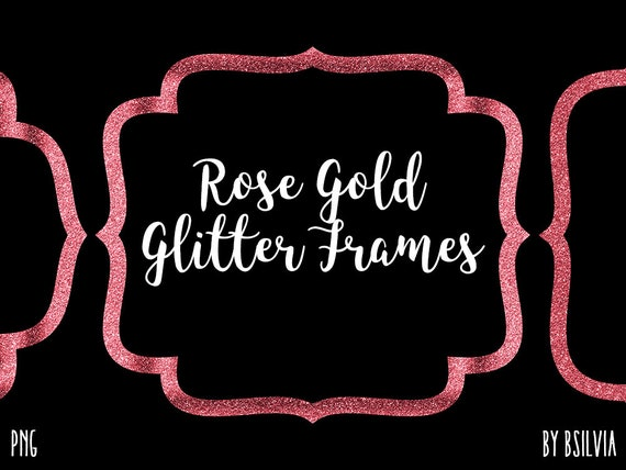 Rose Gold Glitter Frame Clipart, Rose Gold Glitter Border Clipart, Rose Gold Label Clip Art, Rose Gold Glitter Banner, Transparent PNG