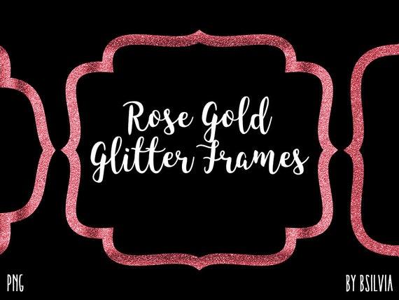 Rose Gold Glitter Frame Clipart, Rose Gold Glitter Border Clipart, Rose Gold Label Clip Art, Rose Gold Glitter Banner, Transparent PNG